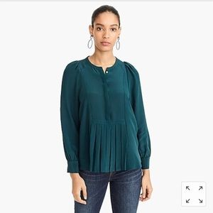 J.Crew Silk Pleated Popover Green Size Medium